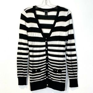 White House Black Market Striped V-Neck Sweater